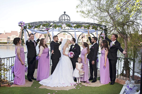 Swan Garden Las Vegas Outdoor Wedding Ceremony Packages with Gazebo at Lake's Edge