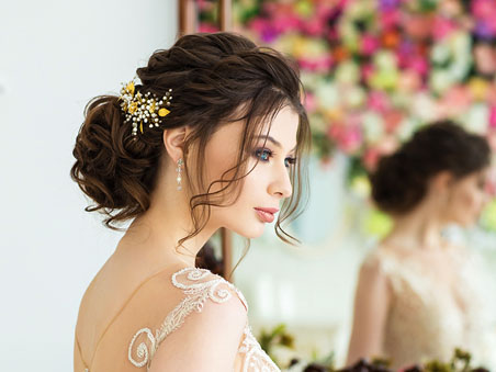 Updo Hairstyle for Las Vegas Wedding Venues with Ceremony and Reception Packages